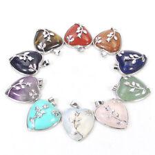 Natural Gemstone Beads Heart Pendant Necklace Lapis Turquoise Amethst energy