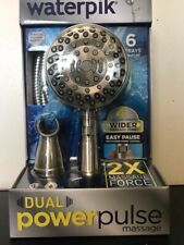 Waterpik New Dual Power Pulse Massage Showerhead-6 Sprays Brushed Nickel New