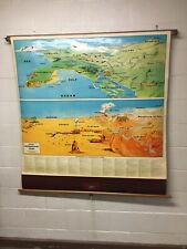"""ANTIQUE VINTAGE CRAM'S GEOGRAPHICAL TERMS PULL DOWN """"MAP""""  KID'S ROOM MAN CAVE"""