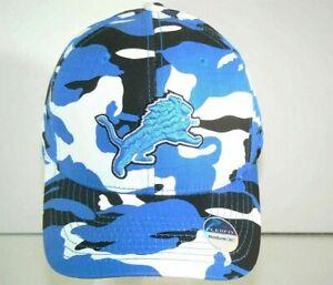 DETROIT LIONS TEAM COLORS CAMO BASEBALL HAT CAP FLEX FIT  - NWT