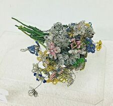 Antique Hand Beaded Flower Bouquet Colorful Glass Beading Bouquet A