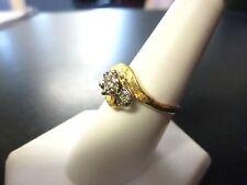 VINTAGE ART DECO  European cut 3 diamond Flower gold ring 14k VS1-H COLOR!