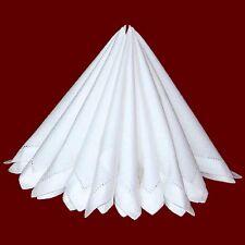 6 Servietten Stoffservietten weiß mit Hohlsaum 100% Baumwolle
