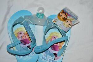 Disney Frozen Queen Elsa Back Strap Flip Flops Sandals Toddler Size 7-8