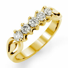 0.54 Ct Round G Vs2 Diamond Bridal Wedding Anniversary Band Ring 14k Gold Yellow