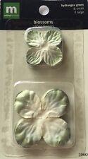 GREEN HYDRANGEA PAPER FLOWER BLOSSOMS(12pc)Making Memories Petals•Floral•Heads••