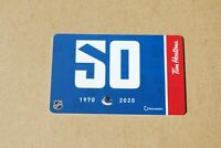 TIM HORTONS GIFT CARD 2020 VANCOUVER CANUCKS 50 YEARS 1970-2020 NEW