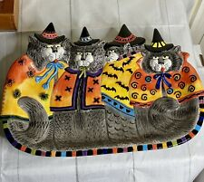 New ListingFitz & Floyd Essentials Kitty Witches Large Platter 4 Halloween Cats Nib