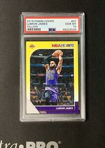 2019-20 Panini NBA Hoops Basketball Lebron James #87 YELLOW PSA 10 Rare !!