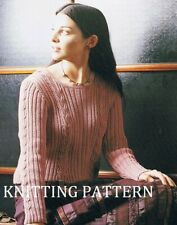 "(723) Ladies Sweater Knitting Pattern in DK Cotton Yarn, up to 46"" bust"