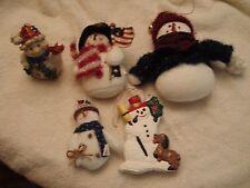 "Lot- 5 Snowmen Christmas Ornaments Cloth/ Resin/ Ceremic Flag /Dog Bird 7""- 4"""