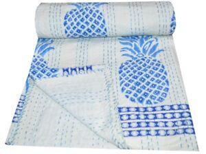 Indian Vintage Pineapple Print Kantha Quilt Throw Reversible Cotton Twin Blanket