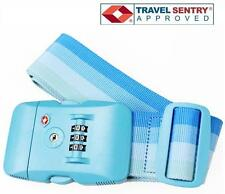 Jasit TSA Accepted 3-Dial LOCK + Luggage Suitcase Travel Nylon Strap Belt - BLUE
