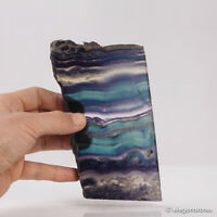 430g Natural Rainbow Fluorite Quartz Slab Polished Crystal Healing Display Decor