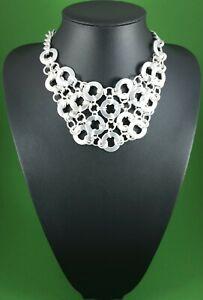 Modern Matt Silver Linked Hoops Flat Circular Rings Collar Statement Necklace