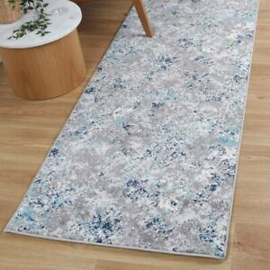 Rothbury Abstract Distressed Grey Blue Contemporary Floor Rug Runner - 80x300cm