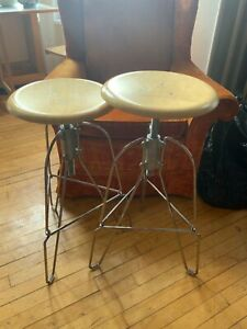 2 Jeff Covey Stools. Stamped by designer. No. 6