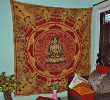 Buddha Meditation Lotus Cotton Brown Wall Hanging Tapestry Beach Hippie Bohemian