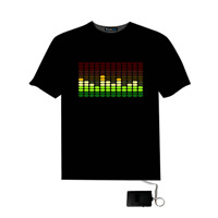NEW GRAPHICS EQUALISER FLASHING LIGHT UP & DOWN SOUND ACTIVATED LED EL T-SHIRT