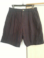 TOMMY HILFIGER Mens 31 100% Cotton Shorts Navy Pinstripe Pleated Front