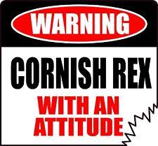 "WARNING CORNISH REX WITH AN ATTITUDE 4"" DIE-CUT CAT FELINE STICKER"