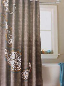 """Threshold Paisley River Birch Fabric Shower Curtain 72"""" x 72"""" NIP"""