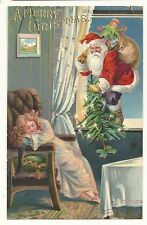 Santa Claus Comes through the window with Christmas Tree Embossed  Girl sleeps