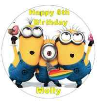 """Minions Despicable Me Personalised Cake Topper 7.5"""" Edible Wafer Paper"""