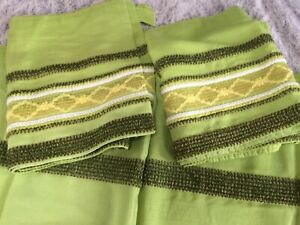 Vtg. MCM 60s Kitchen 2 Curtains & 2 Valances Cafe Window Curtains Drapes Green