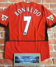 RARE  RONALDO Manchester United Home Shirt Adult MEDIUM with Champions patches