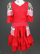 Vintage Call It Fancy sz 8 Red White Gingham Print Ruffled Dress Floral USA