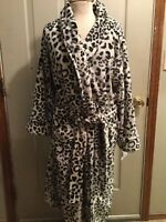 NWT N NATORI WHITE LEOPARD ANIMAL PRINT PLUSH LONG ROBE L LG LARGE JOSIE