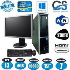 WINDOWS 7 STONE DESKTOP SFF COMPUTER PC INTEL CORE i3 HDMI WiFi 19'' TFT MONITOR