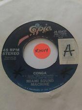 45rpm Vinyl Record, MIAMI SOUND MACHINE, Conga, Mucho Money, Epic Records 1985
