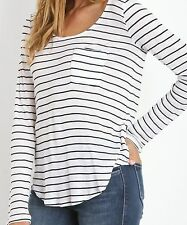 Womens Splendid NWT White & Navy Blue New Haven Striped Henley Shirt Top Size XL