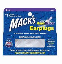 Mack's Swimming Watersports Ear Plugs - MACKS AQUABLOCK Earplugs Clear 2 Pairs