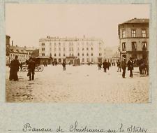 Norvège, Oslo, Christiania, place Stortorvet, vue sur la banque  vintage albumen