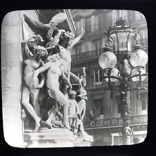 Vtg Magic Lantern Glass Slide Photo Statue Sculpture & Gas Lantern In City