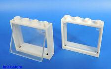 Lego fenêtre 1x4x3 Cadre Blanc / avec insert en verre transparent clair / 2