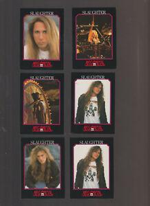 Lot of 6 Slaughter rock band trading cards pub. 1991 Megametal
