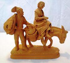 Vtg Grasso Italy Terracotta Pottery Woman riding donkey w/ man walking figurine