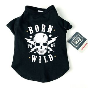 Simply Wag Dogs Black Knit Studded BORN TO BE WILD Knit Tee Shirt Size XS NEW
