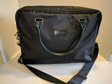 "LIPAULT PARIS BLACK NYLON LEATHER HANDLE LAPTOP TOTE BAG 4"" x 11x - 15"""
