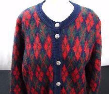 James Pringle Inverness Scottish Sweater Mohair Blend Argyle Knit Cardigan M