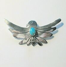 Vtg. Navajo Sterling Silver Turquoise Eagle Pin / Brooch, Signed M A