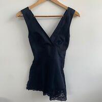 SEED HERITAGE Navy Blue V Neck Thick Strap Open Back Dressy Top Size 6 / XS