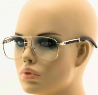 Men Women Aviator Clear Lens Eye Glasses Gold Wood Frame Fashion Retro Vintage