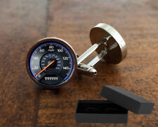 SPEEDOMETER - CUFFLINKS - 3D GLASS LENS FRONT - MENS DAD GIFT - *BOXED *POUCH