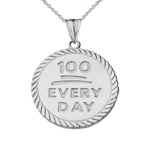 """Solid 10k White Gold """"100 Every Day """" Rope Disc  Pendant Necklace"""