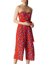 Whistles Silk Jumpsuit Size 12   Red Lyza Tulip Print   BNWT  £259 RRP   New